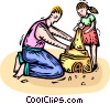 Father and daughter building a sandcastle Vector Clip Art picture