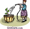 girl watering the flowers Vector Clipart illustration