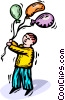 Boy with his balloons Vector Clip Art picture