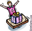 Vector Clip Art graphic  of a boy excited to open birthday
