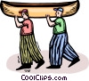 two people carrying a canoe Vector Clip Art graphic