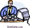 Vector Clipart picture  of a man playing chess watching