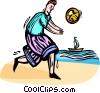 Vector Clip Art graphic  of a man playing beach volleyball