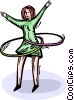 woman with two hula hoops Vector Clip Art picture