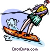 Person water-skiing Vector Clipart illustration