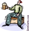 Vector Clip Art image  of a Man drinking a mug of beer