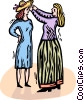Vector Clipart graphic  of a woman getting fitted for a new