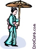 Asian woman in a kimono with an umbrella Vector Clipart image