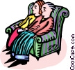 Couple sitting on a chair together Vector Clip Art graphic