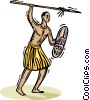 Vector Clip Art image  of an African tribesman with a spear