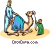 Vector Clip Art image  of a man with his child and a camel