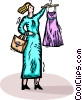 Woman looking at new dress Vector Clipart illustration