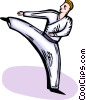 Vector Clipart image  of a Martial artist kicking