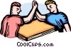 Vector Clip Art graphic  of a two men having an arm