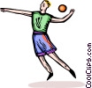 Vector Clipart graphic  of a man throwing a ball
