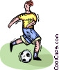 person playing soccer Vector Clipart image