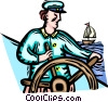 Captain at the helm of his ship Vector Clipart image