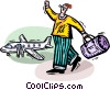 Vector Clip Art graphic  of a man with his luggage