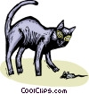 Vector Clipart illustration  of a black cat playing with a mouse