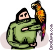 Vector Clip Art graphic  of a parrot sitting on a persons