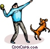 Vector Clipart illustration  of a person playing catch with a