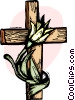The Cross with a flower on it Vector Clipart graphic