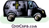 van with a Cross on the side of it Vector Clipart illustration
