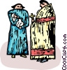 Vector Clip Art image  of a priest standing with a mother and baby