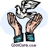 Vector Clipart picture  of a hands releasing a peace dove