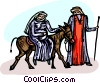 Vector Clipart illustration  of a Virgin Mary and Joseph traveling