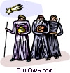 the three Wiseman following the star to Bethlehem Vector Clip Art image