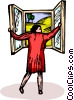 woman opening a window Vector Clipart picture