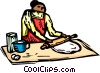 Vector Clip Art graphic  of a woman baking with a rolling