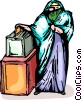 Woman placing a vote in a ballot box Vector Clip Art picture