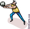 Man playing volleyball Vector Clip Art image