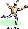 baseball player catching a ball Vector Clip Art graphic