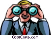 Businessman looking through binoculars Vector Clip Art graphic