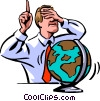 man about to blindly point at a spinning globe Vector Clipart graphic