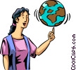 Woman spinning a globe on her finger Vector Clipart picture