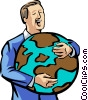 Vector Clipart illustration  of a Businessman hugging a globe