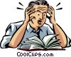 Vector Clipart graphic  of a stressed while reading through manual