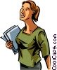 Woman carrying file folders Vector Clip Art graphic