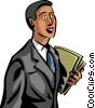 Vector Clip Art image  of a Businessman carrying file