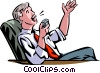 Vector Clip Art image  of a Businessman speaking into a