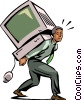 man carrying a computer on his shoulders Vector Clip Art picture