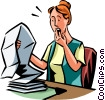 woman surprised while reviewing paper work Vector Clip Art picture