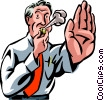 Vector Clip Art graphic  of a businessman blowing a whistle