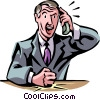 Vector Clip Art graphic  of a businessman talking on the