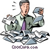 Vector Clip Art graphic  of a Businessman overwhelmed with