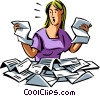 Business woman is overwhelmed with paperwork Vector Clipart image
